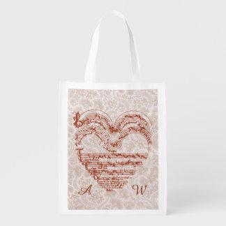 Manuscrito medieval de la música del corazón rojo, bolsa reutilizable
