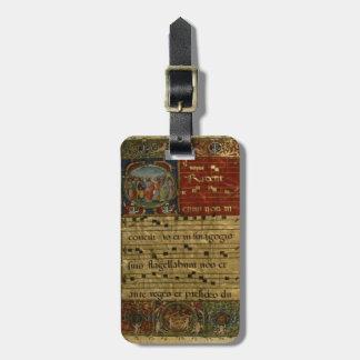 Manuscrito medieval del canto etiquetas maletas