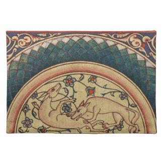 Manuscrito medieval extraño y hermoso mantel