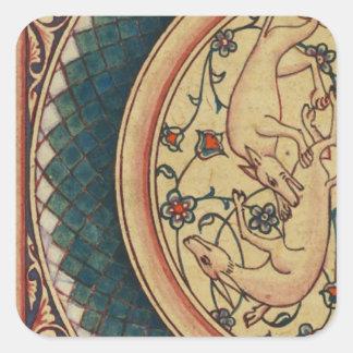 Manuscrito medieval extraño y hermoso pegatinas cuadradas