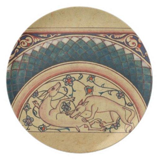 Manuscrito medieval extraño y hermoso platos