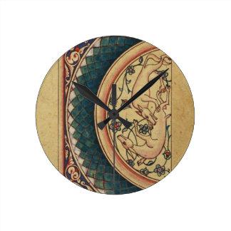 Manuscrito medieval extraño y hermoso reloj