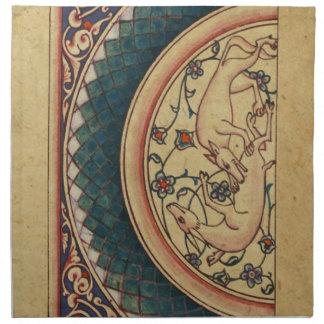 Manuscrito medieval extraño y hermoso servilleta