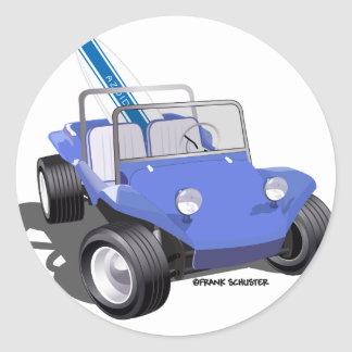 Manx Blue with Surfboard Classic Round Sticker