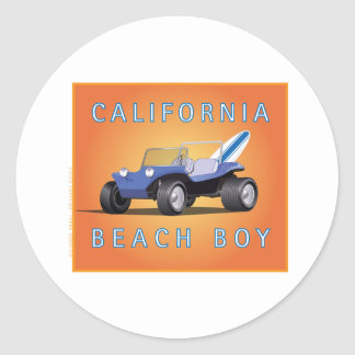 Manx California Beach Boy Classic Round Sticker