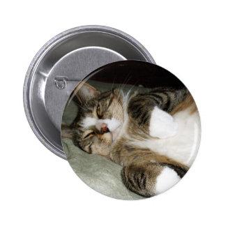 Manx Cat Sleeping Button