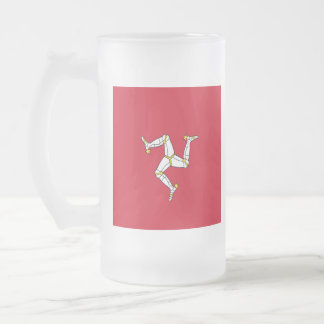 Manx Flag Beer Glass Frosted Glass Beer Mug