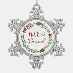 DRAGON TRIBAL CROSS Pewter Christmas ORNAMENT Holiday
