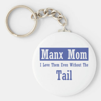 Manx Mom Basic Round Button Keychain