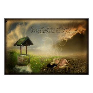 Many are the Afflictions (Scripture Art Poster) Poster