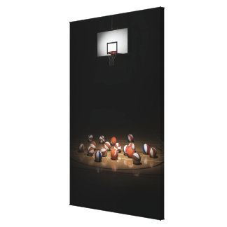 Many basketballs resting on the floor canvas print