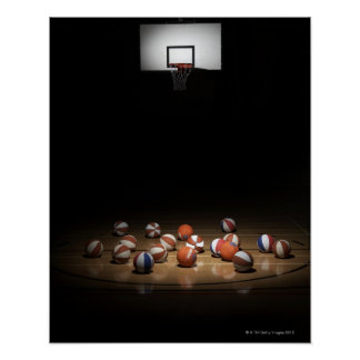 Many basketballs resting on the floor poster