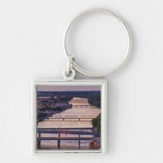 Many Bridges Span The Grand River, Sunset View Keychains