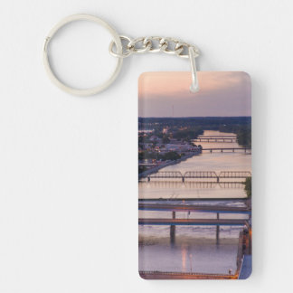 Many Bridges Span The Grand River, Sunset View Keychain