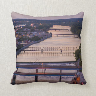 Many Bridges Span The Grand River, Sunset View Pillow