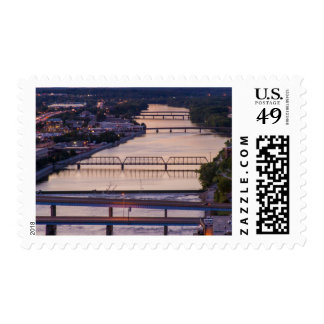 Many Bridges Span The Grand River, Sunset View Stamp