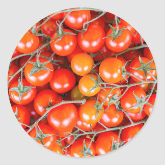 Many bunches of red vine tomatoes classic round sticker