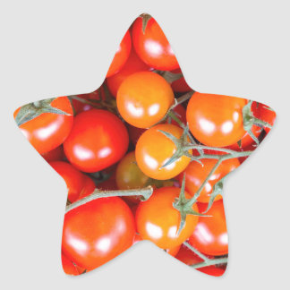 Many bunches of red vine tomatoes star sticker