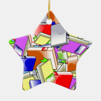 Many Colorful Books Ceramic Ornament