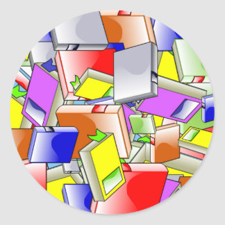 Many Colorful Books Classic Round Sticker