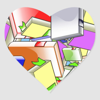 Many Colorful Books Heart Sticker