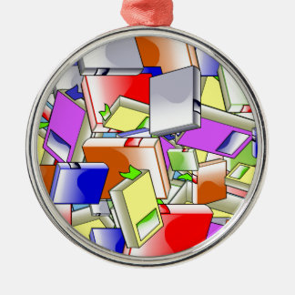 Many Colorful Books Metal Ornament