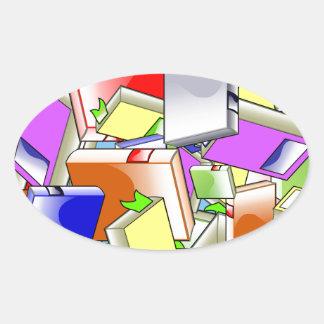 Many Colorful Books Oval Sticker