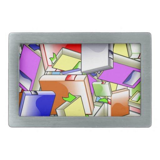 Many Colorful Books Rectangular Belt Buckles