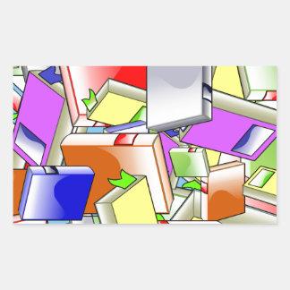 Many Colorful Books Rectangular Sticker