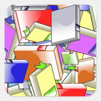 Many Colorful Books Square Sticker