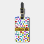 [ Thumbnail: Many Colorful Circles + Custom Name Luggage Tag ]