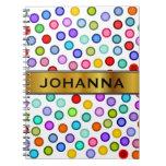 [ Thumbnail: Many Colorful Circles + Custom Name Notebook ]