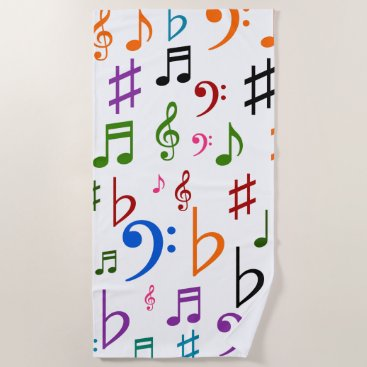 Beach Themed Many Colorful Music Notes and Symbols Beach Towel