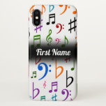 [ Thumbnail: Many Colorful Music Notes and Symbols; Custom Name Case ]