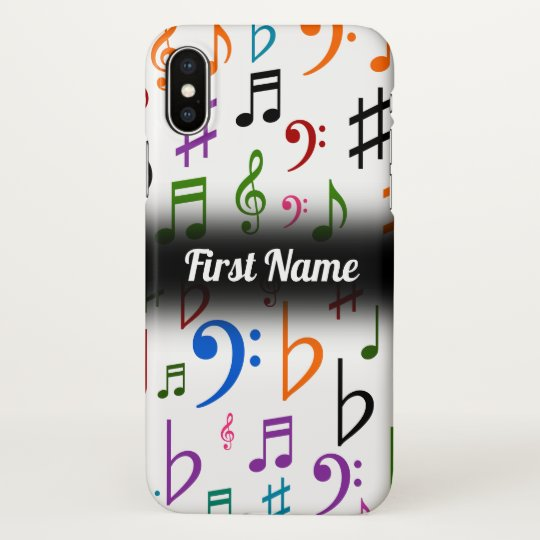 Many Colorful Music Notes And Symbols Custom Name Iphone Case
