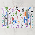 """Many Colorful Music Notes and Symbols Paper Placemat<br><div class=""""desc"""">This tearaway placemats design features a pattern of many colorful music notes and other music notation symbols.</div>"""