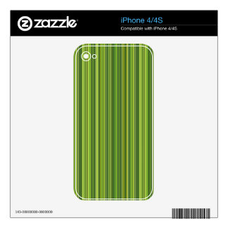 Many colorful stripe pattern in green skin for iPhone 4