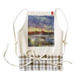 Many colors of sunset zazzle HEART apron