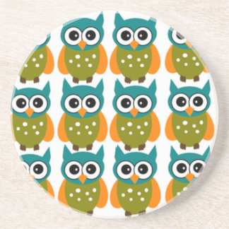 Many Cute and Colorful Owls Pattern Coaster