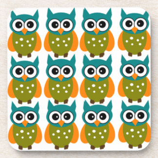 Many Cute and Colorful Owls Pattern Drink Coaster