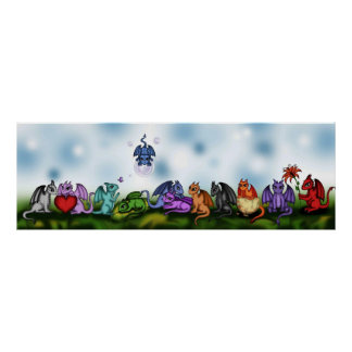 many cute dragons poster