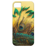 Many different kinds of feathers on a yellow iPhone 5 cover
