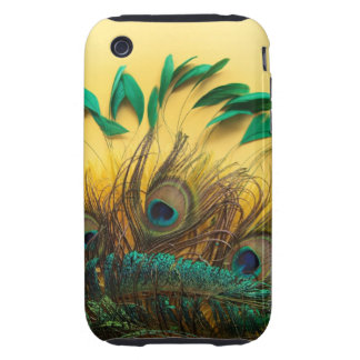 Many different kinds of feathers on a yellow iPhone 3 tough case