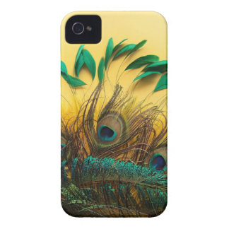 Many different kinds of feathers on a yellow iPhone 4 case