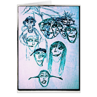 many faces drawing greeting card
