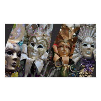 Many Faces of Mardi Gras Poster