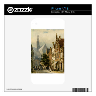 Many figures in the streets of Haarlem by Cornelis Decal For iPhone 4