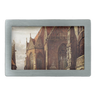 Many Figures On The Market Square In Front Of ... Rectangular Belt Buckle