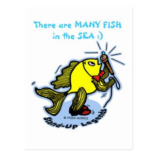 MANY FISH IN THE SEA StandUp Fish funny cartoon Postcard
