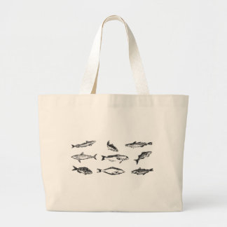 Many fishes: a collection of fish swimming large tote bag